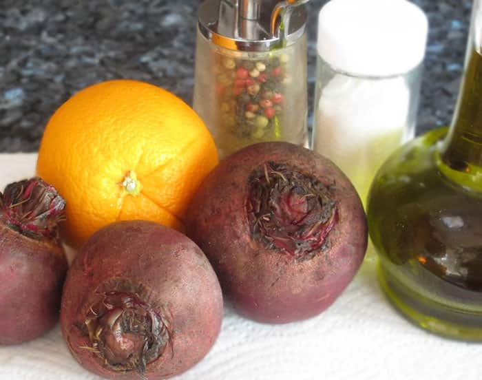 Ingredients for cooking beets the no-fuss way.