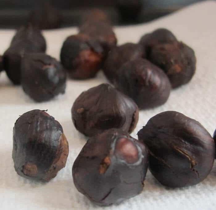 toasted hazelnuts before skinning