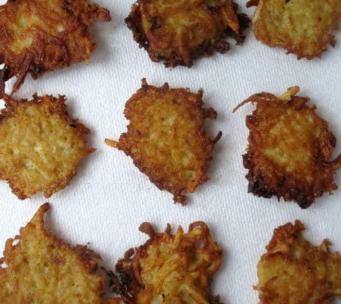 Fried potato pancakes called latkes are easy to make.