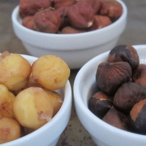 Hazelnuts - raw, skinned, & toasted before skinning