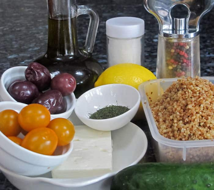 Ingredients for quinoa and vegetable salad. | Mother Would Know