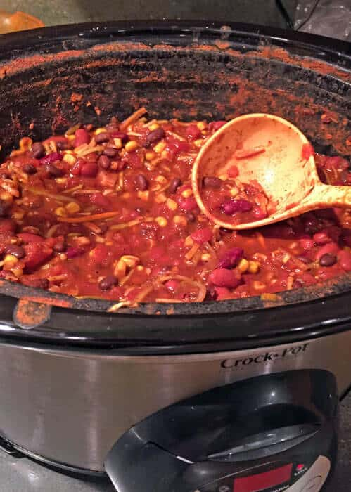 vegetarian chili cooking in a slow cooker