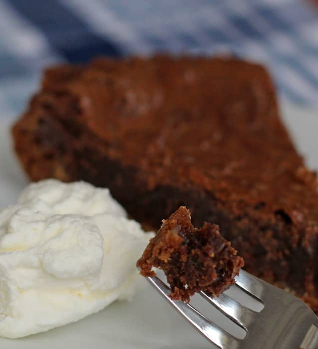 Chocolate chess pie is great with whipped cream or ice cream.
