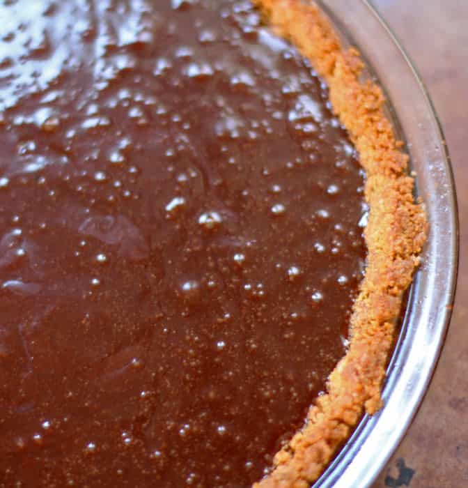 Unbaked chocolate chess pie.