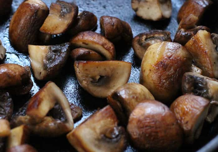 A last minute addition to beef stew - mushrooms.