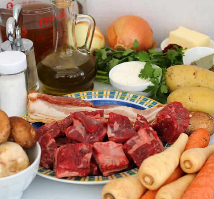 Ingredients for hearty beef stew