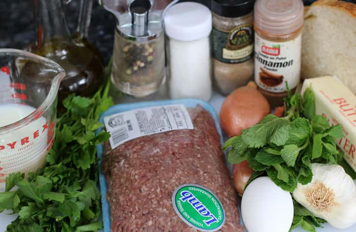 Ingredients for lamb meatballs.