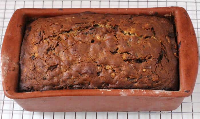 Baked date nut bread in the loaf pan