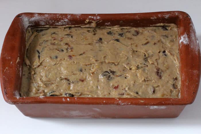Date nut bread ready to go into the oven.