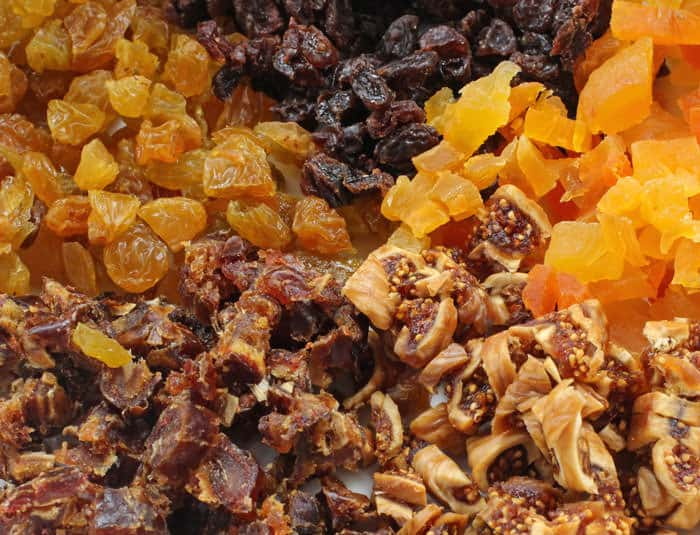 Mixing dried fruit for Sephardic charoset.