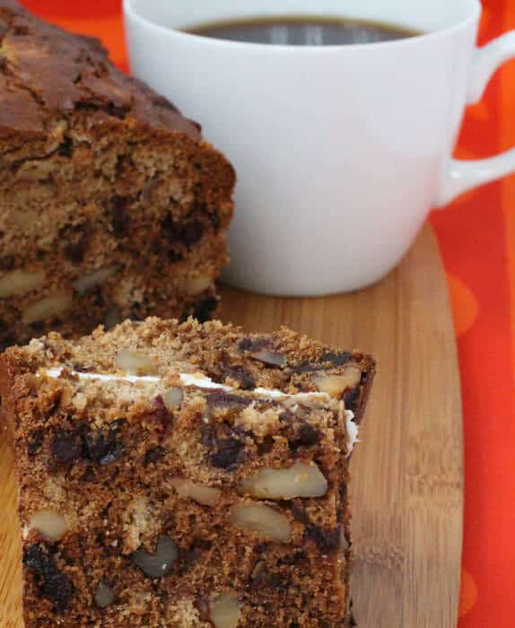 Date nut bread is a fabulous treat with cream cheese.