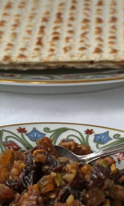 Sephardic charoset with matzo - a Passover treat.
