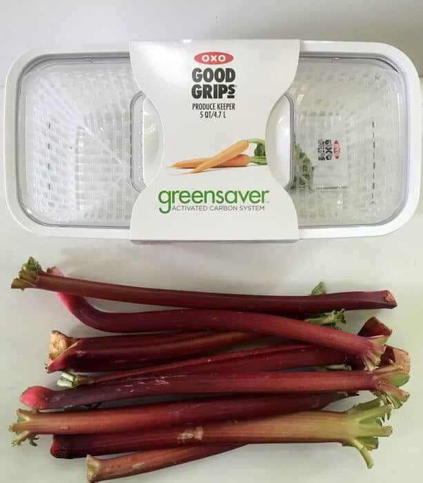 A container to preserve the freshness of rhubarb and other fruits and vegetables.