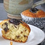 Sour Cream Muffins with Chocolate Chunks & Cherry