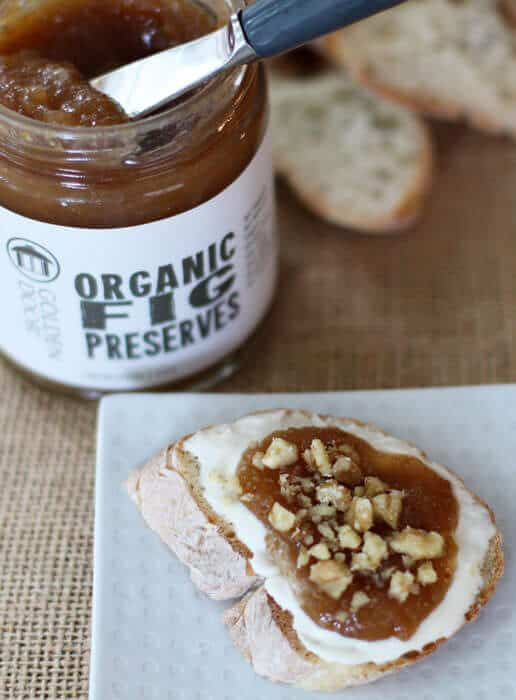 mascarpone cheese, fig preserves and toppings on baguette | Mother Would Know