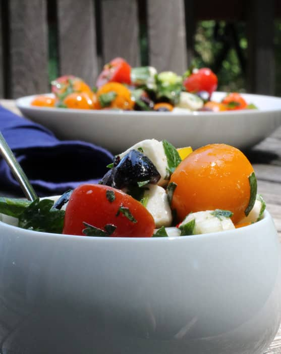 tomato, feta and olive salad - easy summertime dish | Mother Would Know