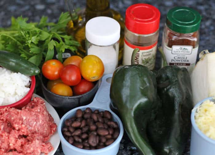 ingredients for easy stuffed poblano peppers | Mother Would Know