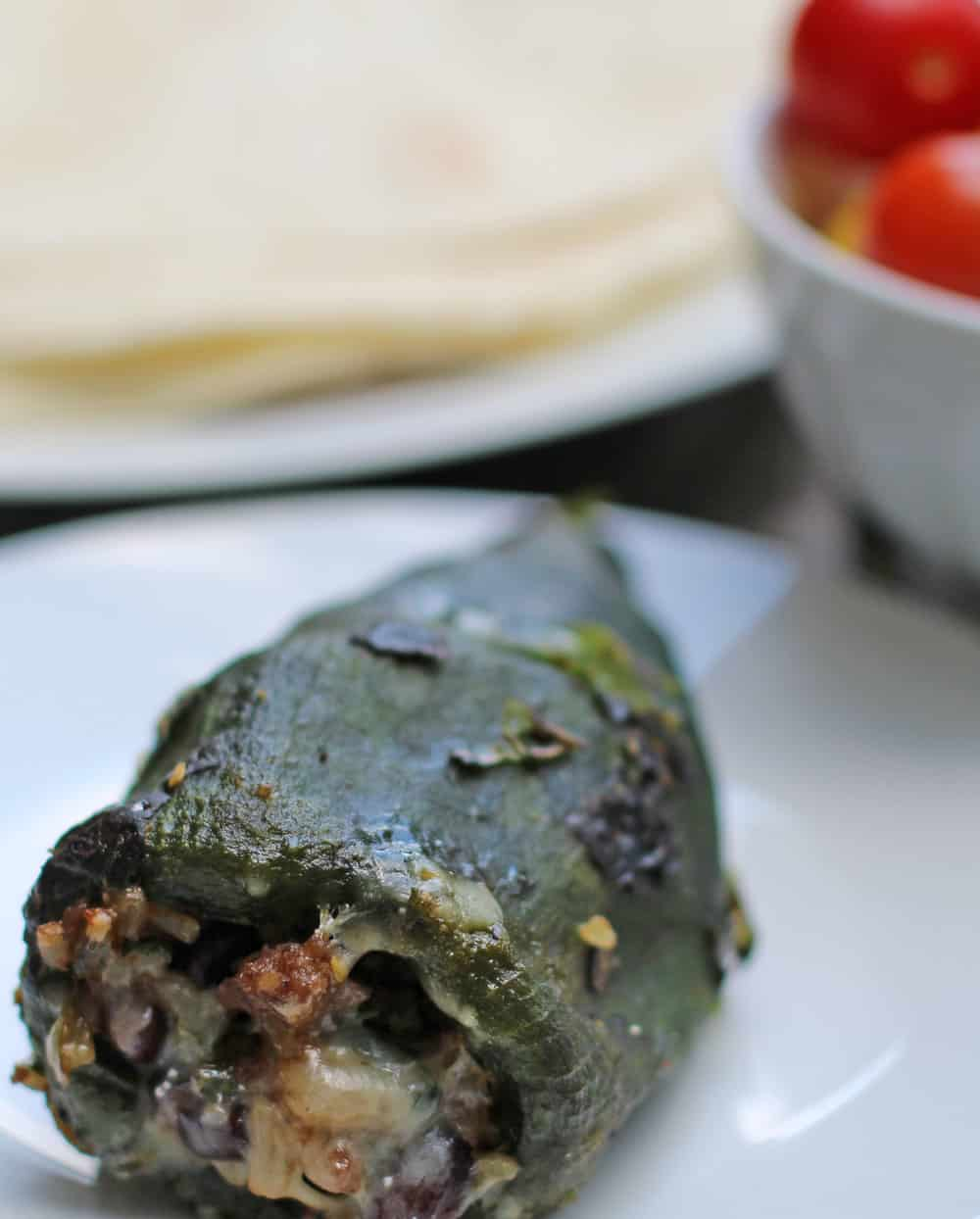 Perfect summer food - easy stuffed poblano peppers with lots of beef, rice and beans - a whole meal in a single, slightly spicy pepper | Mother Would Know