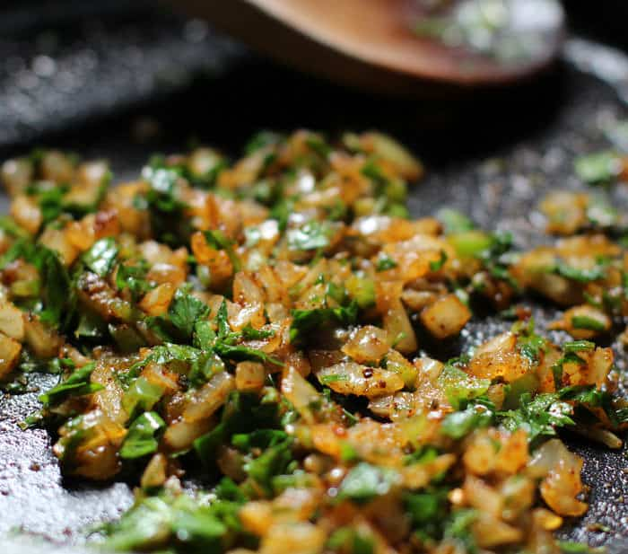 adding parsley or cilantro and spices to stuffing for peppers