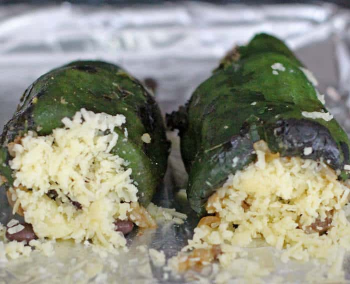roasted and stuffed poblano peppers