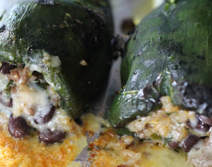 roasted and stuffed poblano peppers with cheese