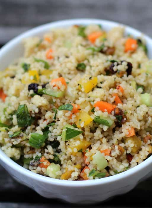 Minty couscous - a simple vegetarian side dish or lunch. Mother Would Know | www.motherwouldknow.com
