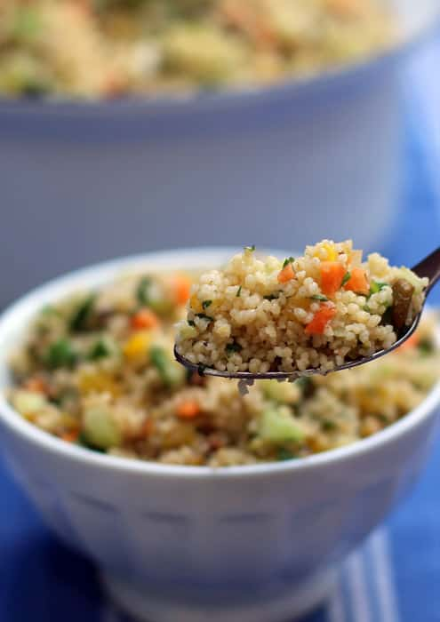 Minty couscous. A delightful and easy summer side dish or lunch. From Mother Would Know | www.motherwouldknow.com
