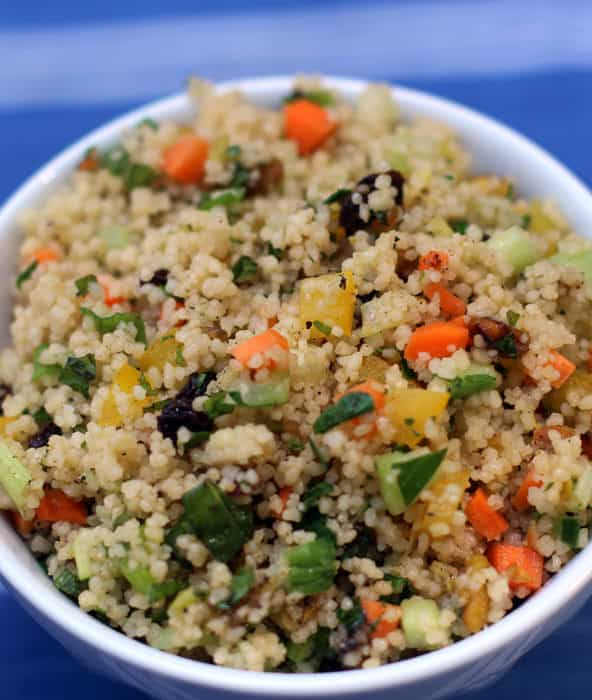 Minty couscous is a colorful and easy side dish or lunch, and a perfect complement to any grilled dinner. From Mother Would Know | www.motherwouldknow.com