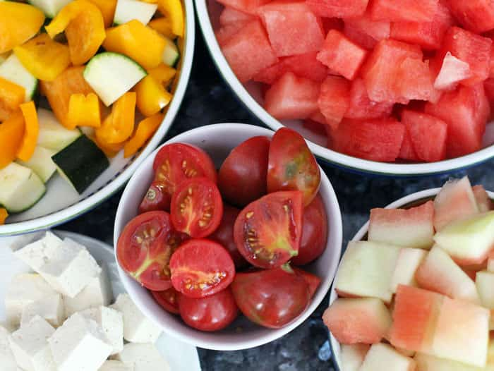 cut watermelon, vegetables and tofu for watermelon curry | Mother Would Know