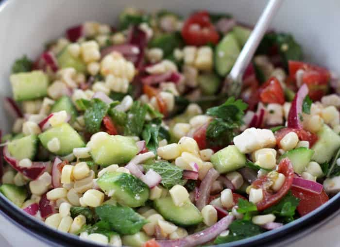 Tangy Vegetable Salad with Feta is a meal in a bowl | Mother Would Know