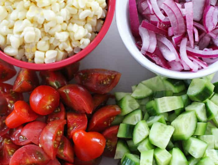 chopped vegetables for Tangy Vegetable Salad with Feta | Mother Would Know