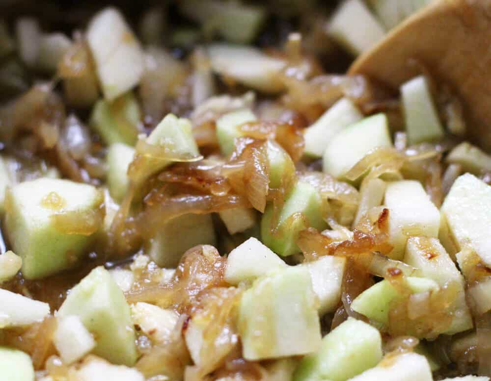 Mixing apple and caramelized onion chutney | Mother Would Know