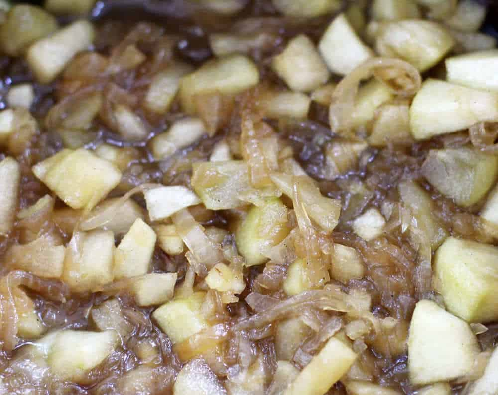 Apple and caramelized onion chutney simmering | Mother Would Know