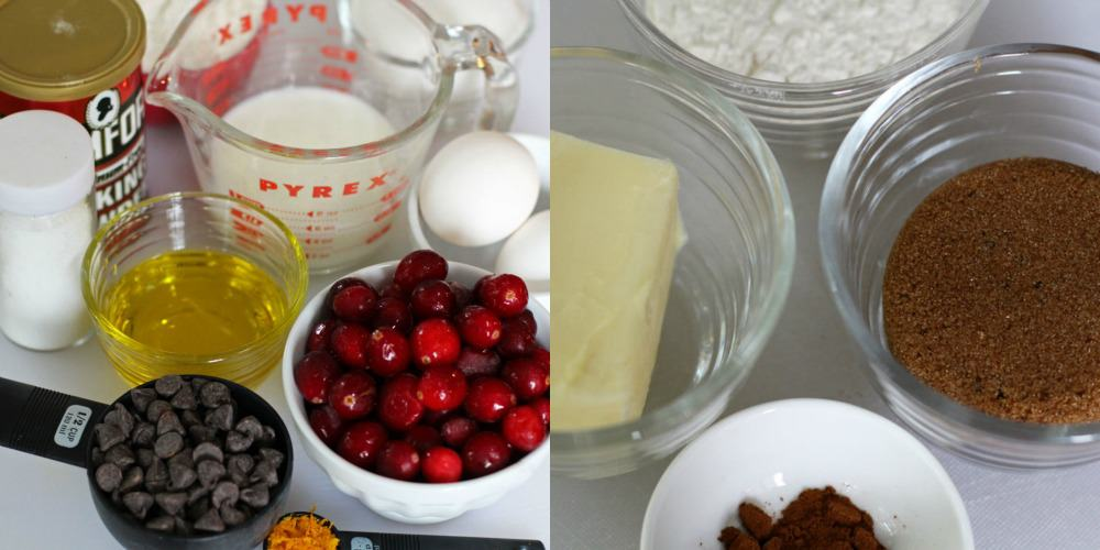 ingredients for cranberry chocolate streusel muffins | Mother Would Know