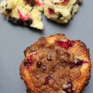 Chocolate Cranberry Streusel Muffins