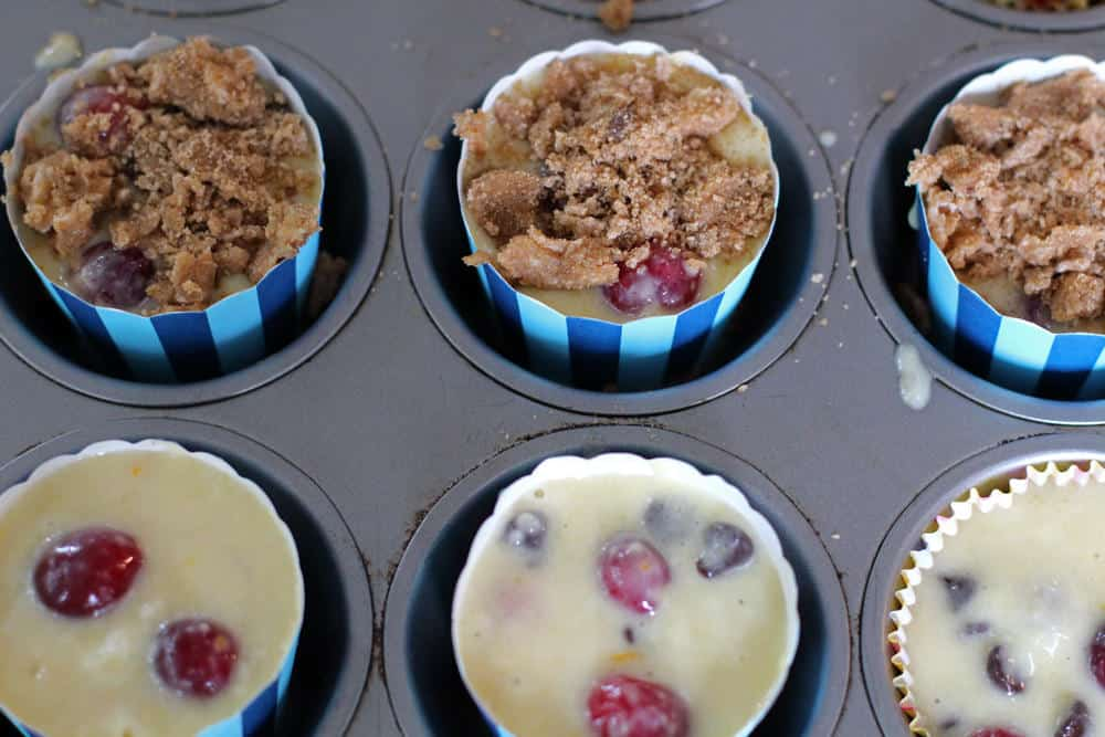 Cranberry chocolate streusel muffins before baking | Mother Would Know