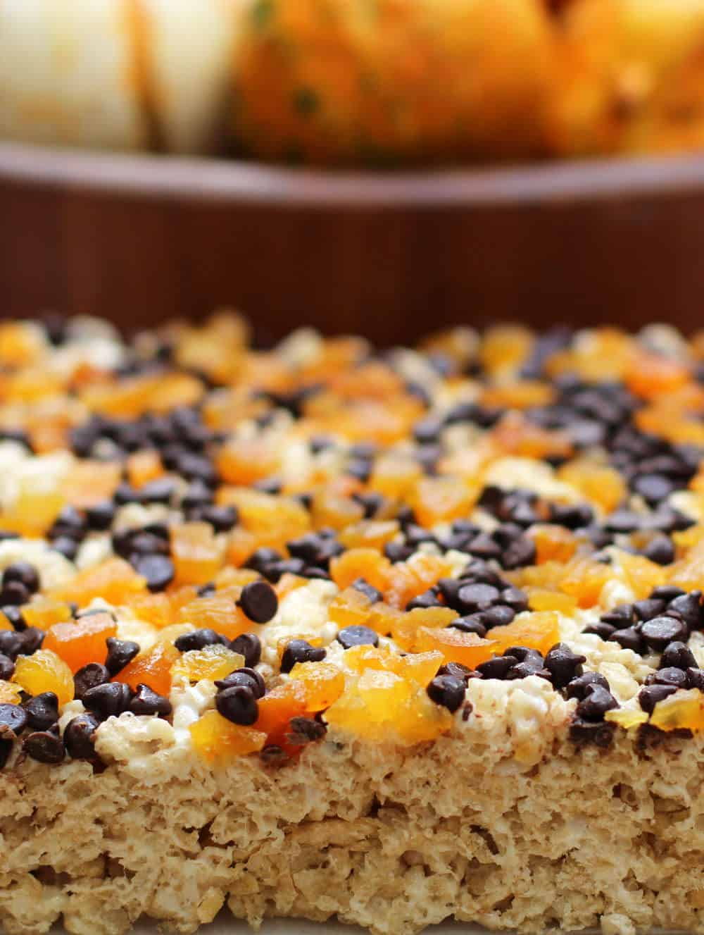 A delightful way to celebrate Halloween, with chocolate and apricot-topped rice krispy treats | Mother Would Know
