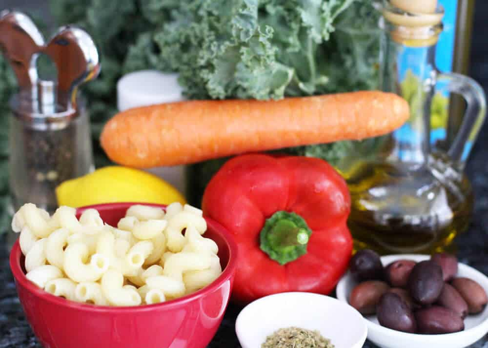 Ingredients for kale pasta salad | Mother Would Know