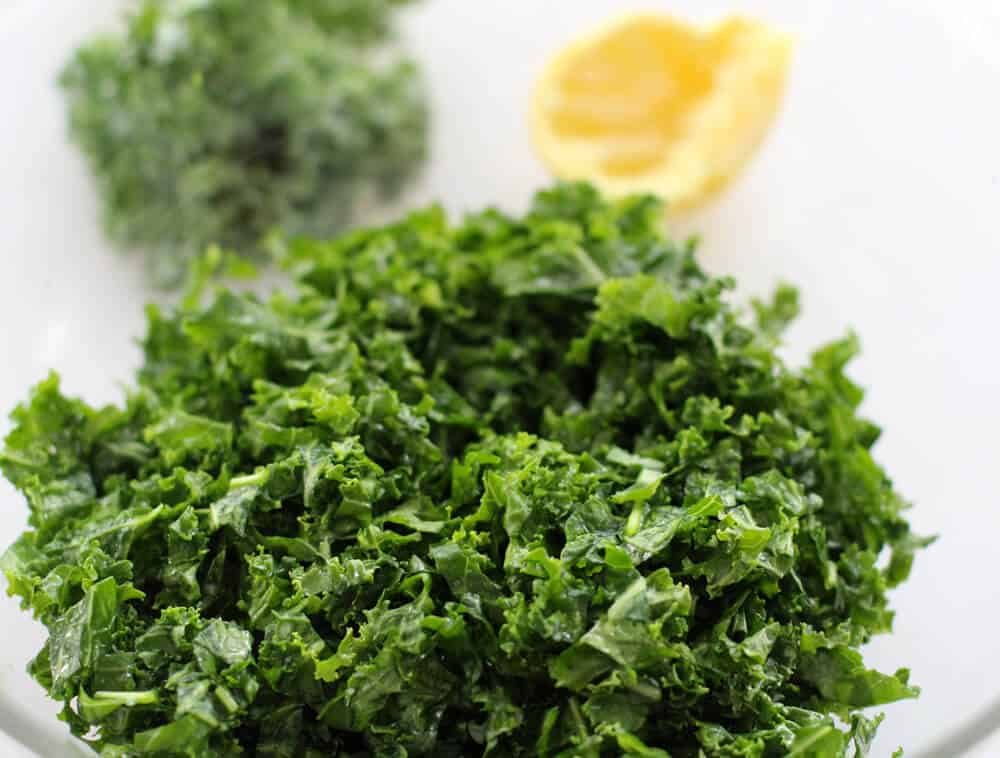Raw kale massaged with half a lemon