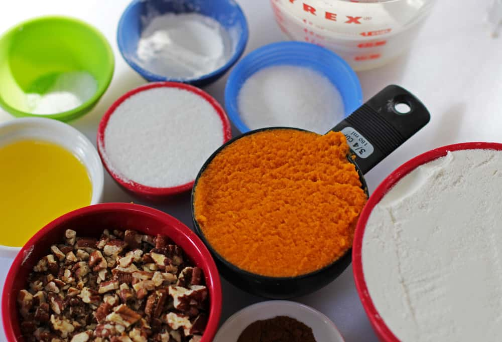 Ingredients for sugar-topped pumpkin pecan scones | Mother Would Know