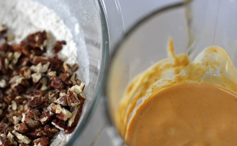 Dry and wet ingredients before mixing for sugar-topped pumpkin pecan scones | Mother Would Know