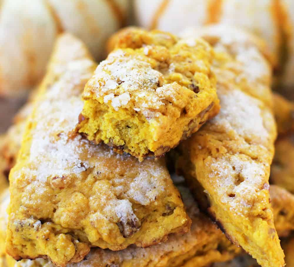 Sugar-Topped Pumpkin Pecan Scones