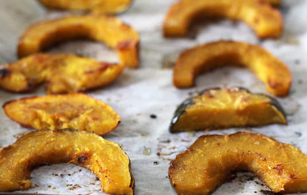 roasted acorn squash glazed with butter, maple syrup, orange juice and rind, and a bit of ground cardamom | Mother Would Know