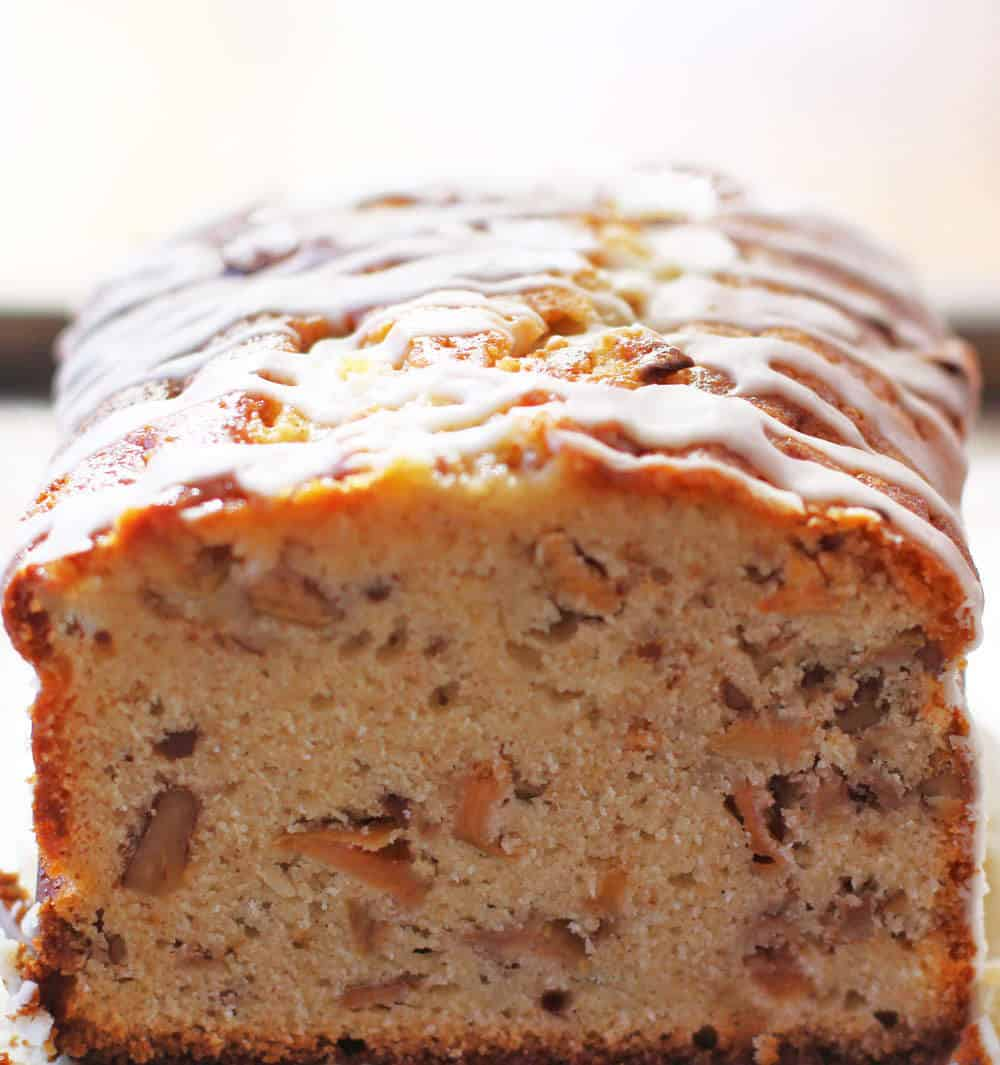 Glazed Apple Cider Loaf Cake is moist and delicious. | Mother Would Know