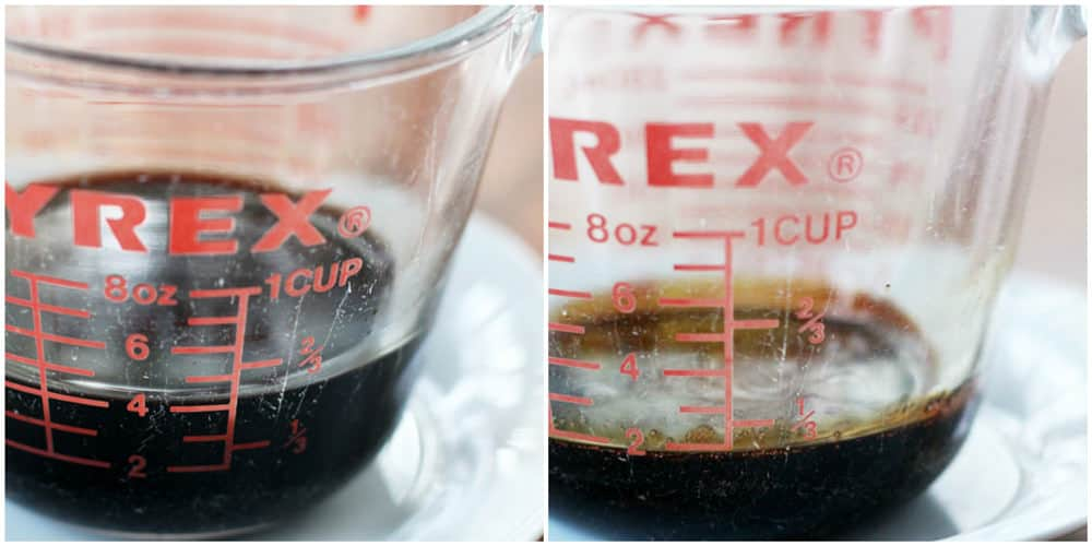 Sugar-free balsamic glaze before and after cooking it down