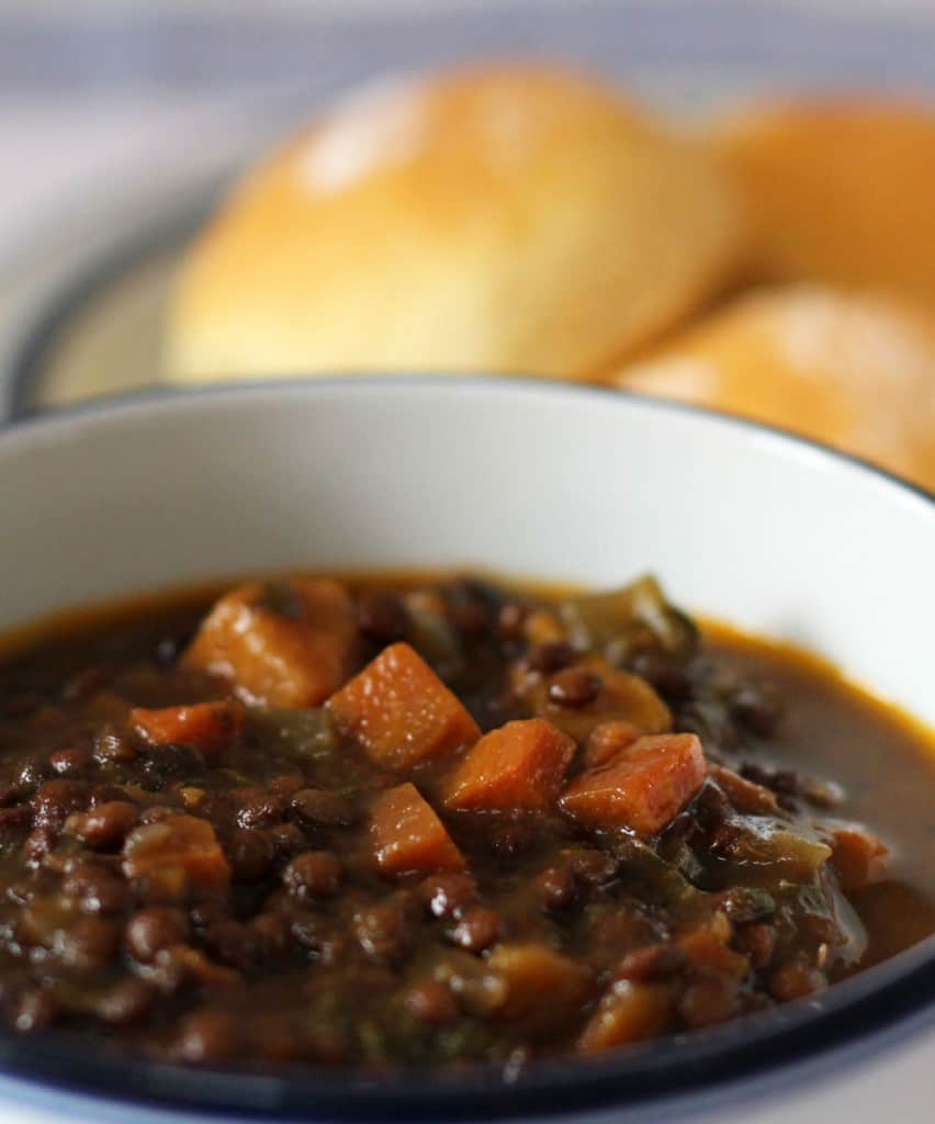Slow Cooker Lentil Soup with Zip - a hearty lentil soup with balsamic reduction or glaze added at the end.