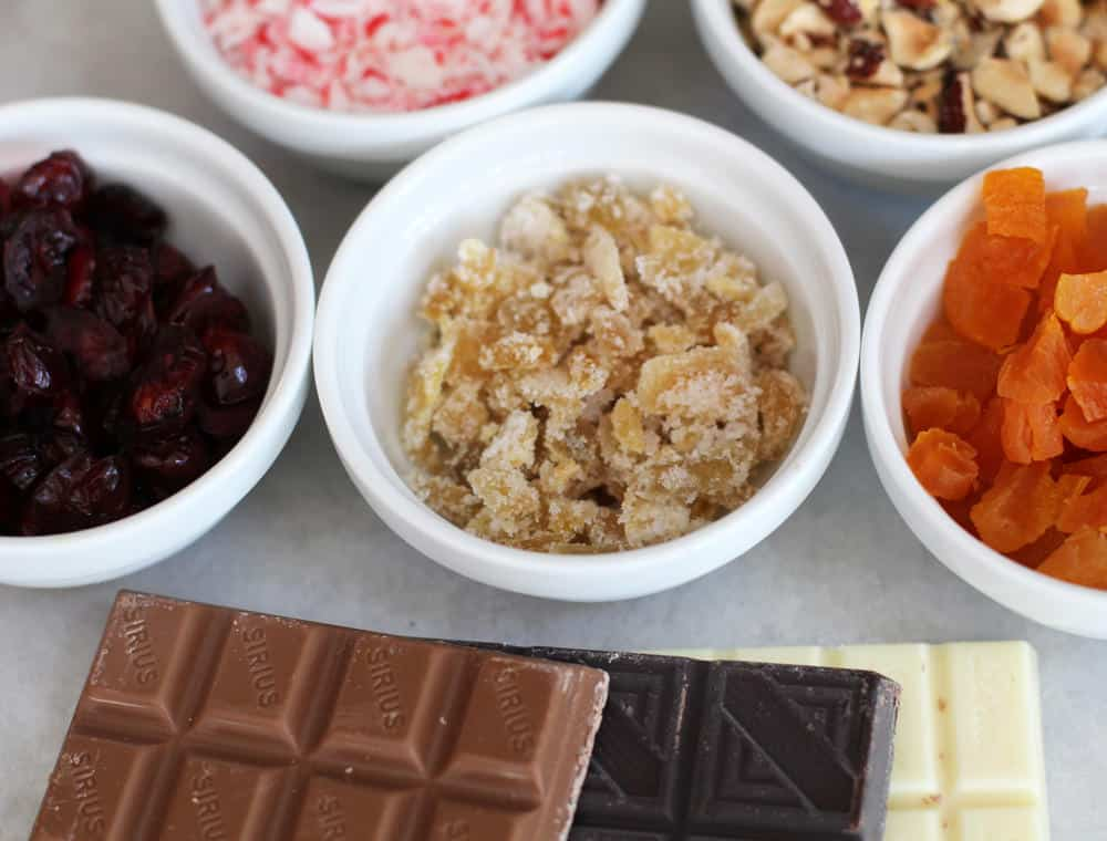The ingredients for triple holiday chocolate bark.
