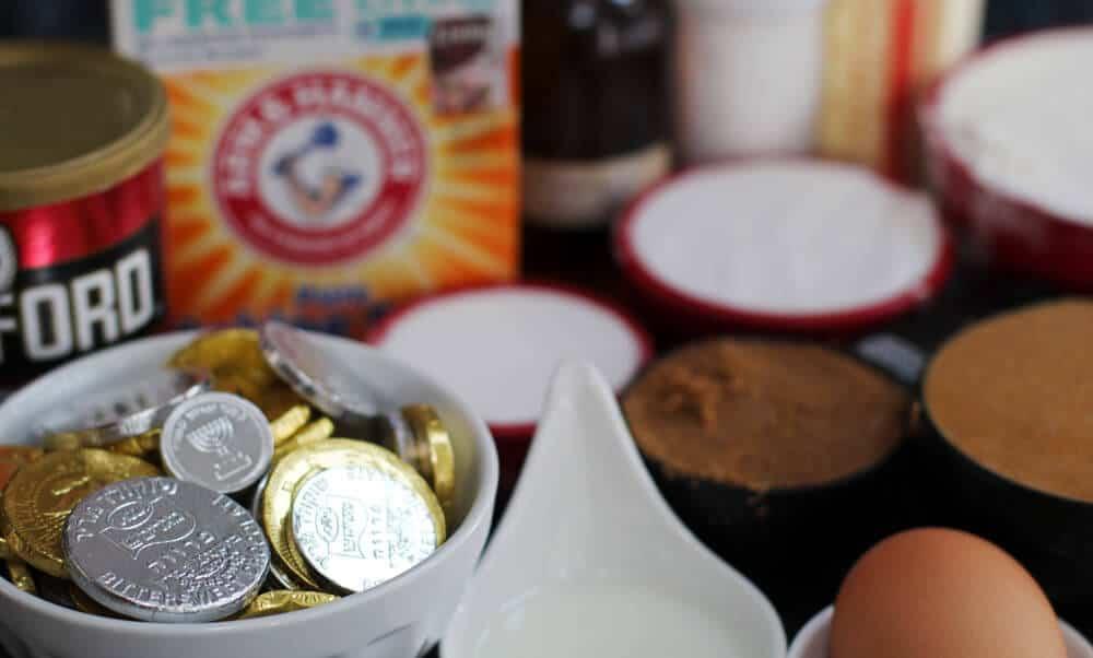 Ingredients for Chanukah gelt cookies.