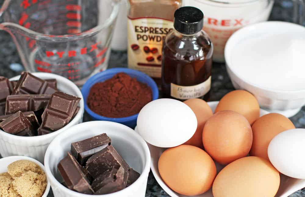 Ingredients for a chocolate mocha roulade.