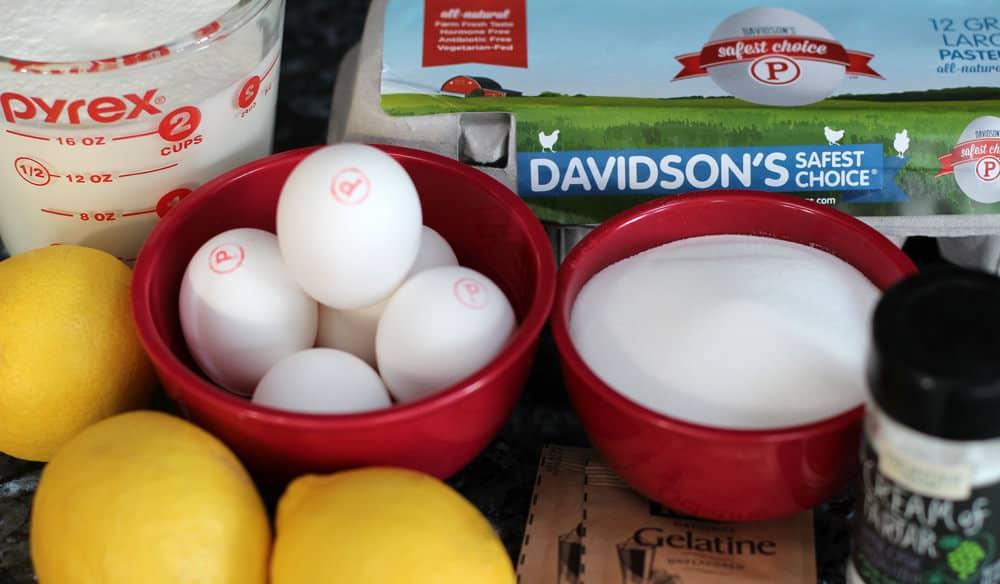 Ingredients for lemon chiffon mousse.